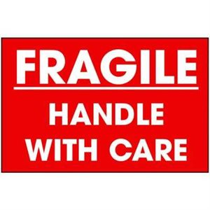 "Fragile Label 3""x 5"" White / Red 500ct"