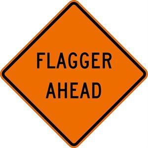"Orange Bright 48""x 48"" Flagger Ahead Roll Up Road Sign Fiberglass & Clamp (6)"