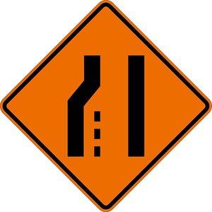 "Orange Bright 48""x 48"" Merge Right Symbol Roll Up Road Sign Fiberglass & Clamp (6)"