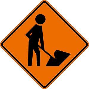 "SuperBright Reflective 48""x 48"" Men & Equipment Ahead Roll Up Road Sign Fiberglass & Clamp (6)"