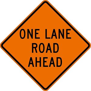 "Orange Bright 48""x 48"" One Lane Road Ahead Roll Up Road Sign Fiberglass & Clamp (6)"