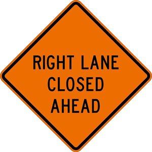 "Orange Bright 48""x 48"" Right Lane Closed Ahead Roll Up Road Sign Fiberglass & Clamp (6)"