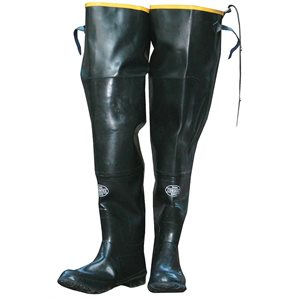 "Boots Hip Waders Black Rubber, Plain Toe, Cotton Lined 36"" Tall Size 13 (6) Min.(1)"