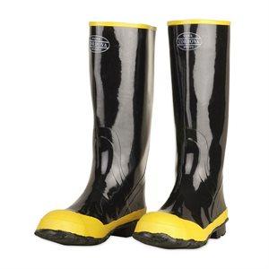 "Boots Black Rubber Yellow Toe w / Steel Toe & Shank Cotton Lined Slip-on 16"" Tall Size 14 (6) Min.(1)"