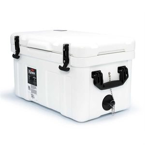 "Cooler Kuuma White 35L 25.4"" x 16.2"" x 15.8"" includes powder-coated steel basket"