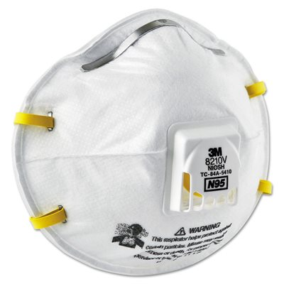 3M 8210V N95 Particulate Mask with Valve Double Strap 10ct (8) Min. (1)