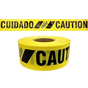 "3""x 500' Reinforced Yellow ""Cuidado Caution"" Barricade Tape 12ct Case Min.(1)"
