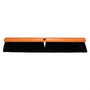 "Broom Hardwood 24"" Block Dual 3"" Poly Bristles & 60"" Handle Wet / Dry Sweeping (6)"