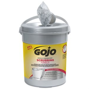 "GOJO Scrubbing Wipes 72ct Hand Towels 10.5""x12.75"" Citrus Fragrance 6 / Pail case (1)"