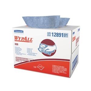 "WypAll X90 Kimberly-Clark 136ct Disposable Wiper 11"" x 16.8"" Blue Cloth 12891 (1)"