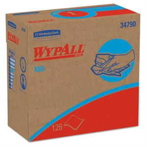 "WypAll X60 Kimberly-Clark 126ct Disposable Wiper 12.5""x 16.8"" White 34790 10bx Case (1)"